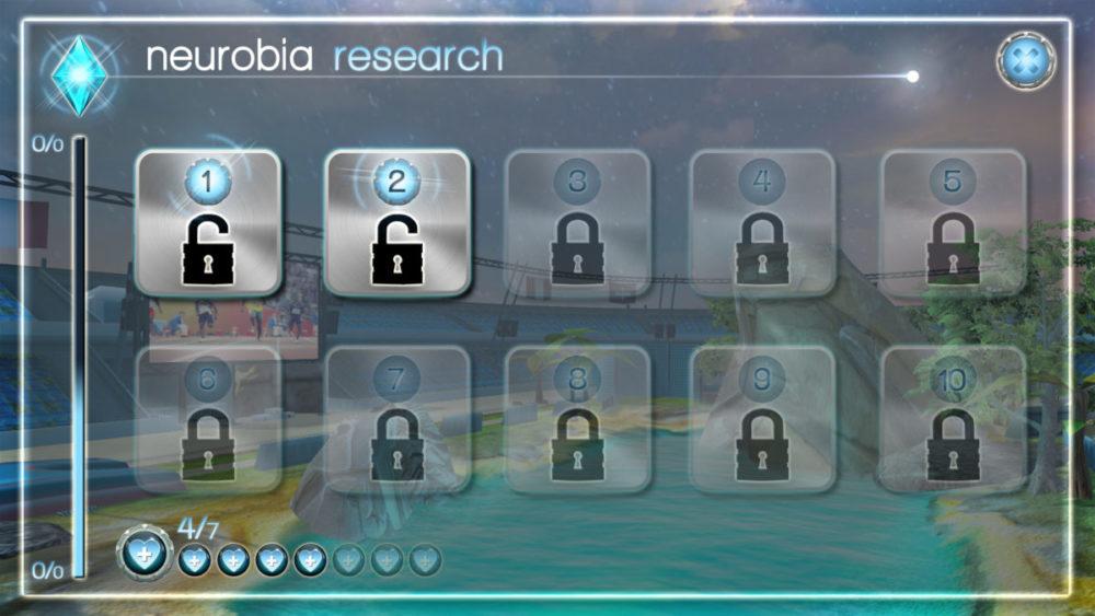 Pantalla de acceso a niveles de un juegos de Neurobia.