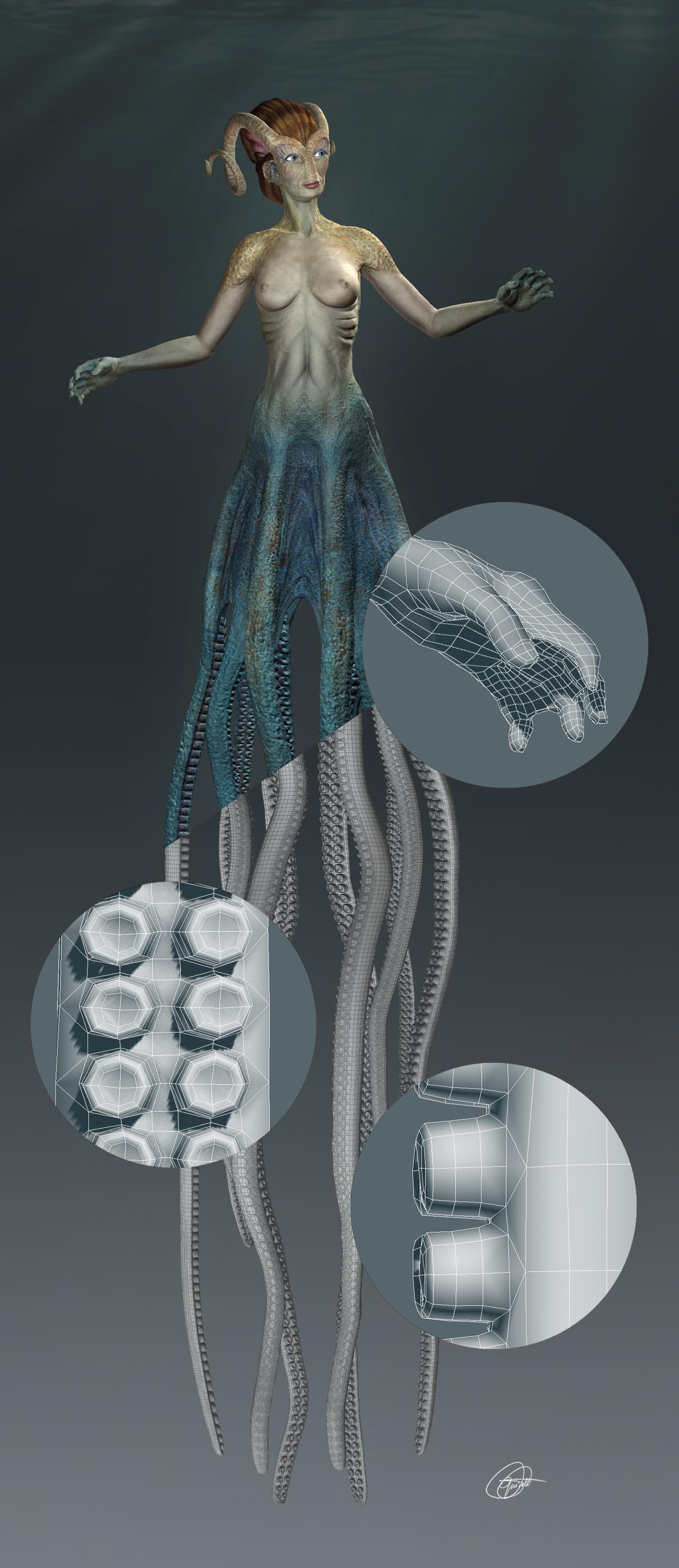 Proyecto Cecaelia. Detalles de la malla en baja : manos, tentáculos y chupones. Creado con 3dmax, zbrush, mudbox, uvlayout.