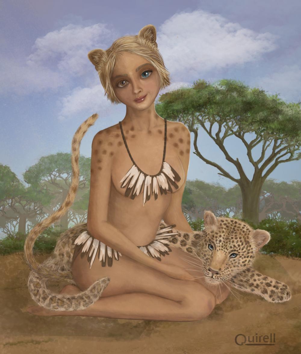 Ilustración de adolescente leoparda