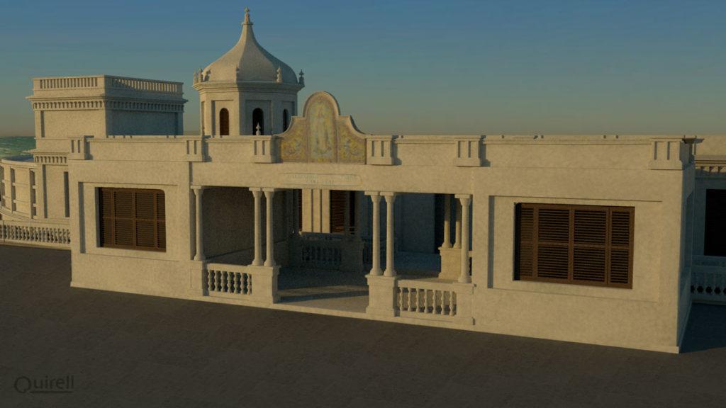 acceso principal al Balneario real de Cádiz modelado en 3D