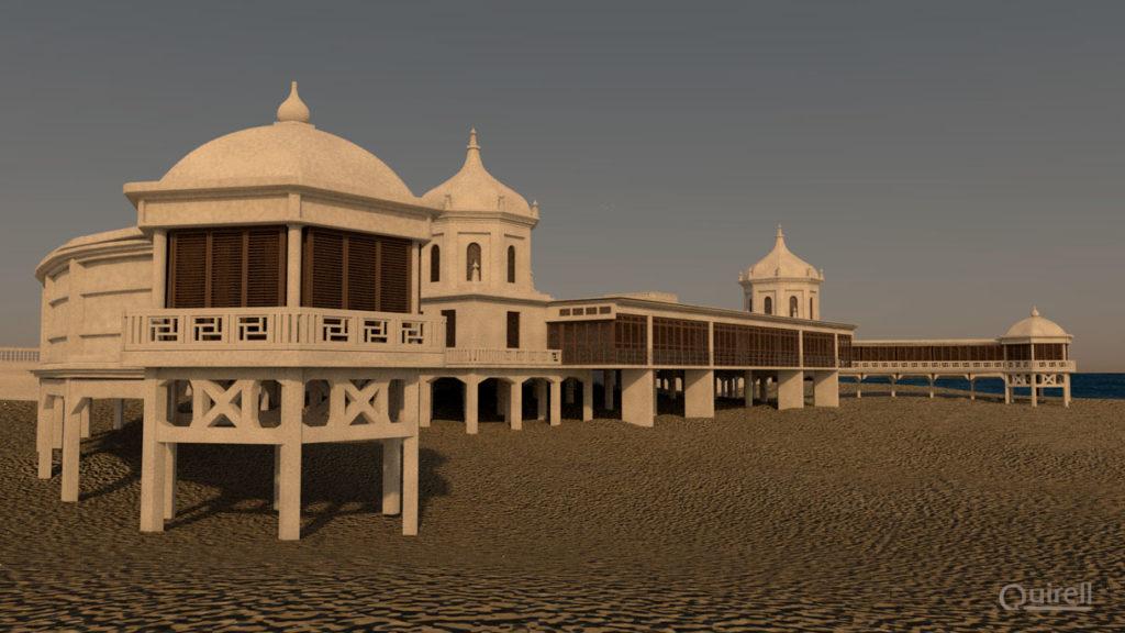 Modelado 3D Balneario real de Cádiz vistas al mar