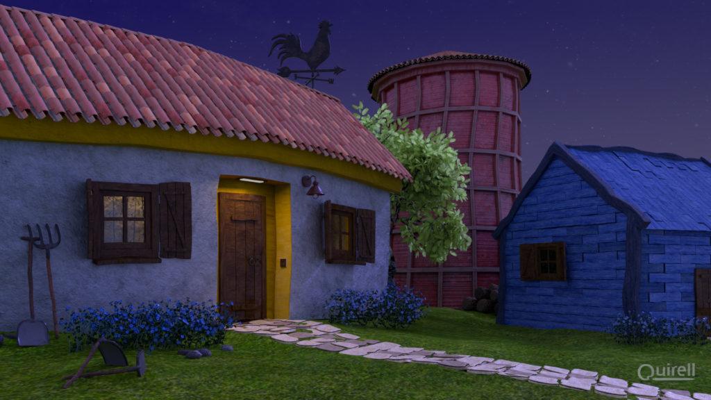 Modelado 3D de la casa, el silo y el granero