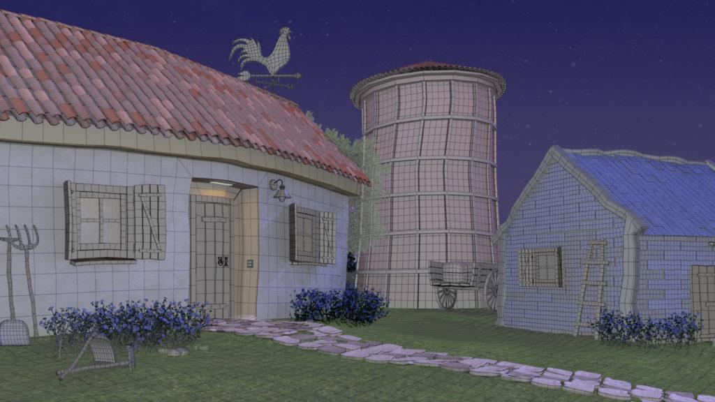 wire del modelado 3D de la casa, el silo y el granero